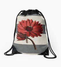 botanical stripes - red water lily Drawstring Bag