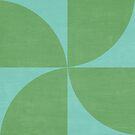 mod petals - teal and green by beverlylefevre