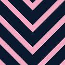 v lines - pink and navy by beverlylefevre