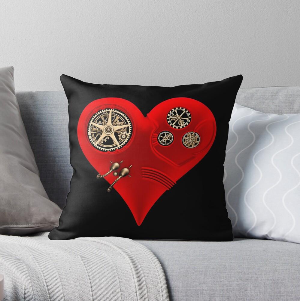 Steampunk Red Clockwork Heart Throw Pillow