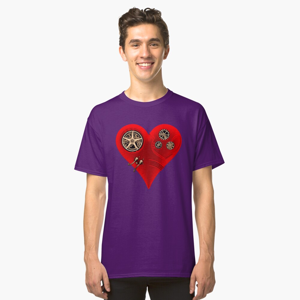 Steampunk Red Clockwork Heart Classic T-Shirt Front
