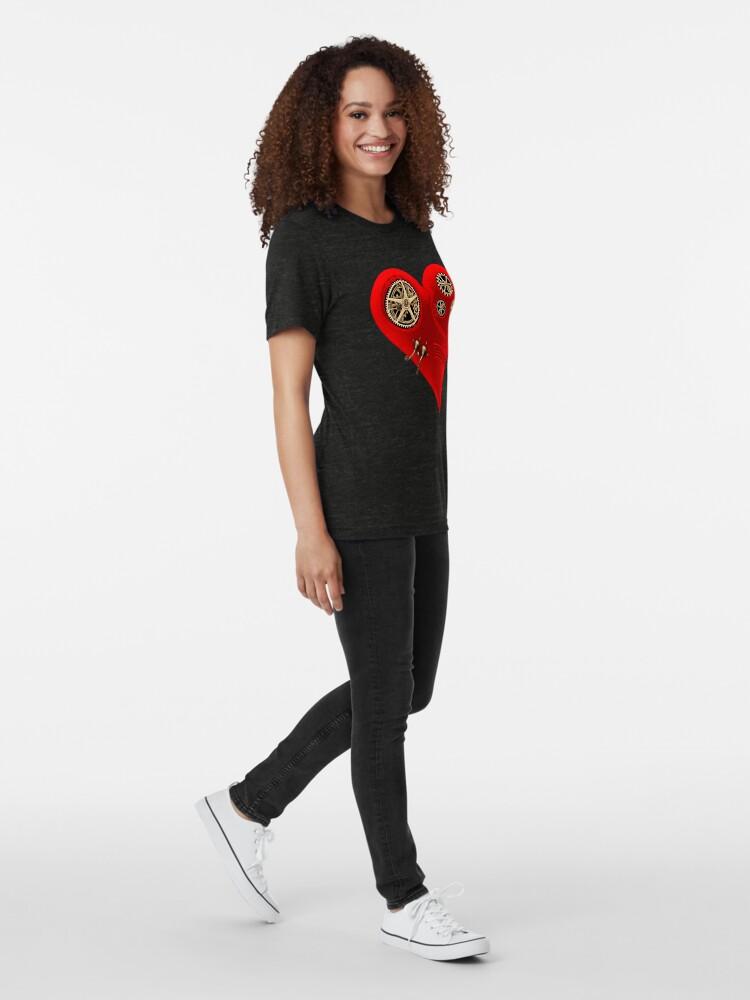 Alternate view of Steampunk Red Clockwork Heart Tri-blend T-Shirt