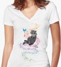 Adorable Little Raccoon  Women's Fitted V-Neck T-Shirt