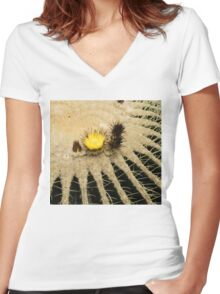 Fascinating Cactus Bloom - Soft and Fragile Among the Thorns Women's Fitted V-Neck T-Shirt