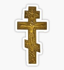 antique bronze cross with crucified Christ  Sticker