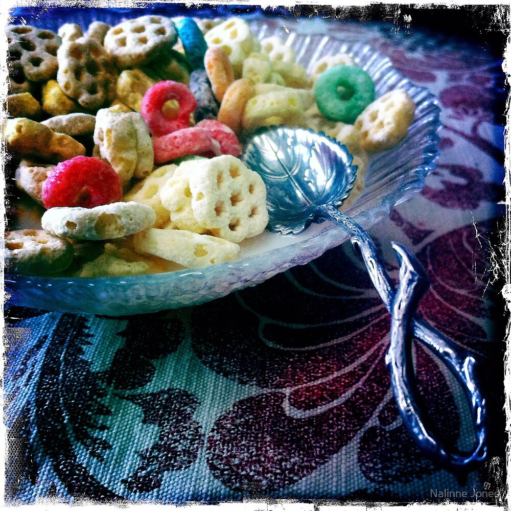 Colorful Bowl of Mixed Cereal by Nalinne Jones