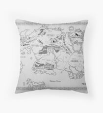 Elder Scrolls map in ink Throw Pillow