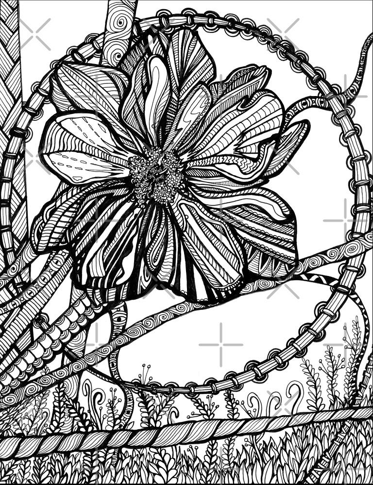 Thimbleweed, Ink Flower Drawing by Danielle Scott