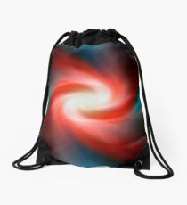 Red and blue abstract swirl Drawstring Bag