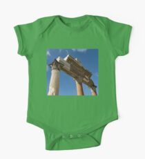 Ancient Pompeii Broken Treasures - A Skyward View of a Classical Corinthian Colonnade One Piece - Short Sleeve
