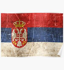 Vintage Aged and Scratched Serbian Flag Poster