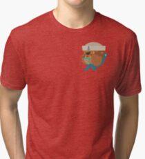 Flat Design Bulldog Sailor Tri-blend T-Shirt