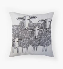 Whimsical Sheep (drawing) Throw Pillow