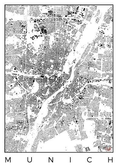 Munich Map Schwarzplan Only Buildings Urban Plan by HubertRoguski