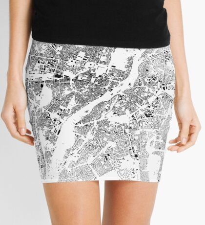 Munich Map Schwarzplan Only Buildings Urban Plan Mini Skirt