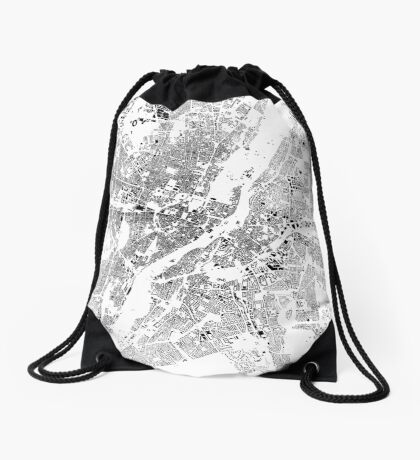 Munich Map Schwarzplan Only Buildings Urban Plan Drawstring Bag