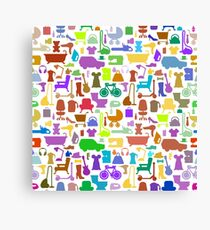 Shopping icons pattern with theme for sale Canvas Print