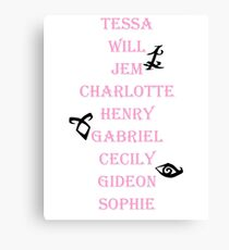 Infernal Devices Character Names Canvas Print