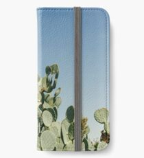 Large Prickly Pear Cactus against Blue Sky iPhone Wallet