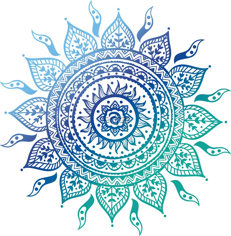 Quot Blue Gradient Mandala Quot Stickers By Adjsr Redbubble