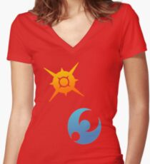 Pokemon Sun and Moon Symbols Women's Fitted V-Neck T-Shirt