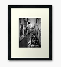 Gondoliers Getting Ready ~ Black & White Framed Print