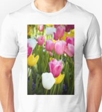 Pink White Yellow Tulips Unisex T-Shirt