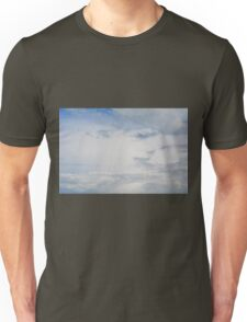 Light blue sky with white clouds. Unisex T-Shirt