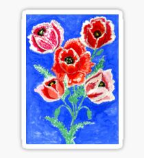 Poppies Bouquet Painting Sticker