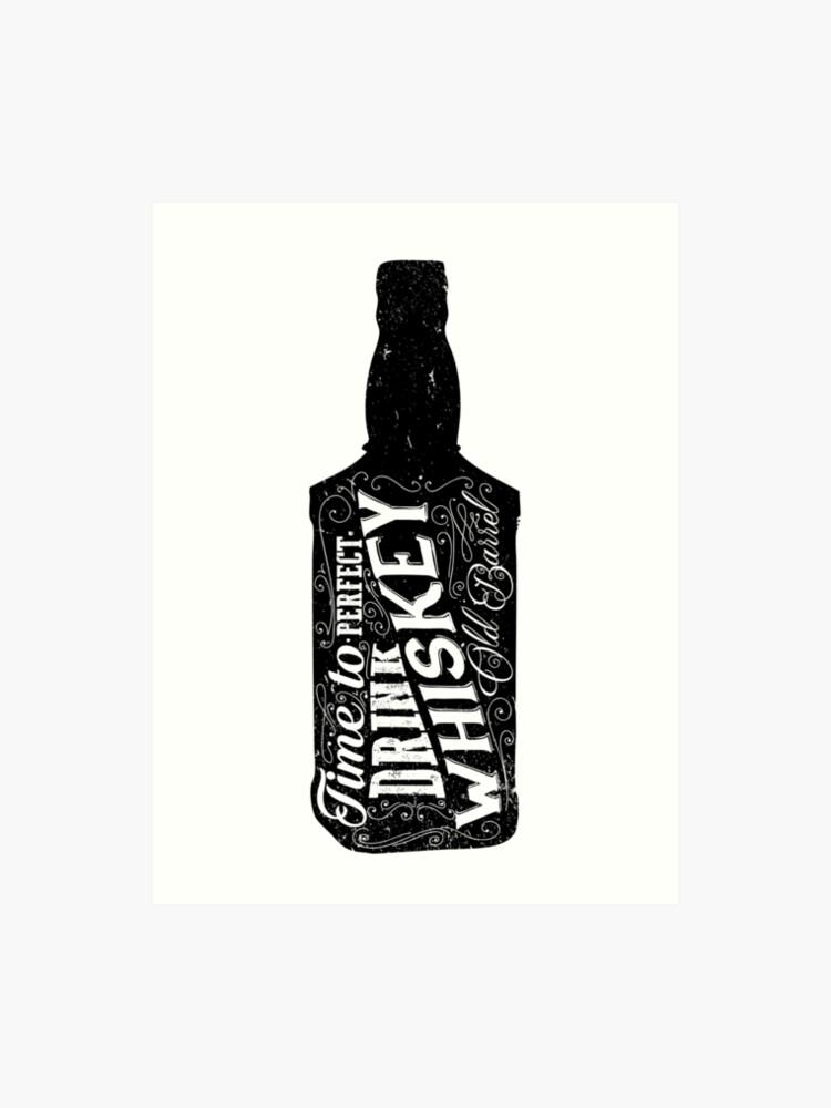 Whiskey bottle retro old vintage design illustration. Chalkboard poster  typographic grunge label vector. Handwritten time to drink. Black bottle. |  ...