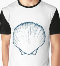 Seashell, sea shell, nature ocean aquatic underwater vector. Hand drawn marine engraving illustration on white background Graphic T-Shirt
