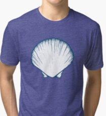 Seashell, sea shell, nature ocean aquatic underwater vector. Hand drawn marine engraving illustration on white background Tri-blend T-Shirt