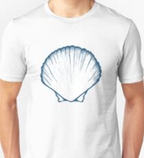 Seashell, sea shell, nature ocean aquatic underwater vector. Hand drawn marine engraving illustration on white background T-Shirt