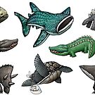 Scaly Critter Stickers by mikelevett