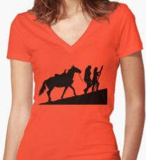 xena gabrielle and argo warrior princess Women's Fitted V-Neck T-Shirt