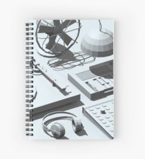 Low Poly Studio Objects 3D Illustration Grey Spiral Notebook