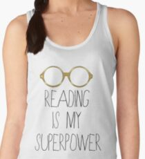 Reading is my superpower - White/Gold Women's Tank Top