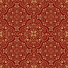 Dark-Red & Gold Glitter Moroccan Motive Geometric Pattern by artonwear