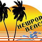 NEWPORT BEACH CALIFORNIA SUNSET WAVES SURF SURFING by MyHandmadeSigns
