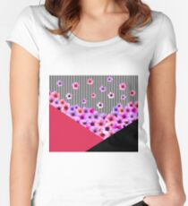 Flowers and Stripes Women's Fitted Scoop T-Shirt