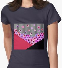 Flowers and Stripes Womens Fitted T-Shirt