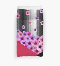 Flowers and Stripes Duvet Cover