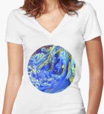 Landscape Abstract Women's Fitted V-Neck T-Shirt