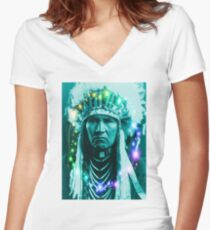Magical Indian Chief Women's Fitted V-Neck T-Shirt