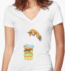 Donut Foxhole (Transparent Background) Women's Fitted V-Neck T-Shirt