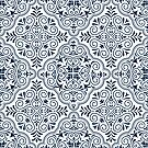 Midnight Blue Geometric Pattern Floral Moroccan Motive by artonwear