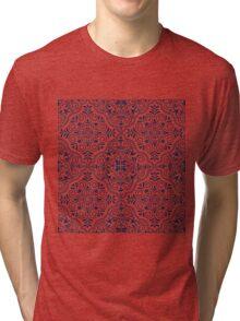 Midnight Blue Geometric Pattern Floral Moroccan Motive Tri-blend T-Shirt