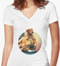 Astronimals: L. Brador (Circular) Women's Fitted V-Neck T-Shirt