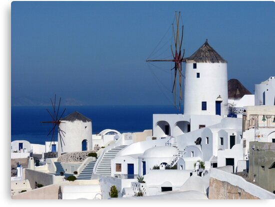 Windmills of Oia, Santorini, Greece by Lucinda Walter