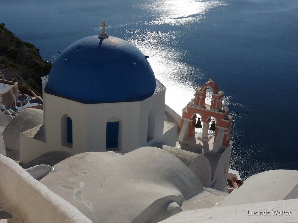 Blue Domed Church in Oia, Santorini Greece by Lucinda Walter